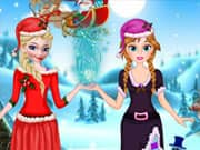 Juego Elsa and Anna Frozen Helping Santa